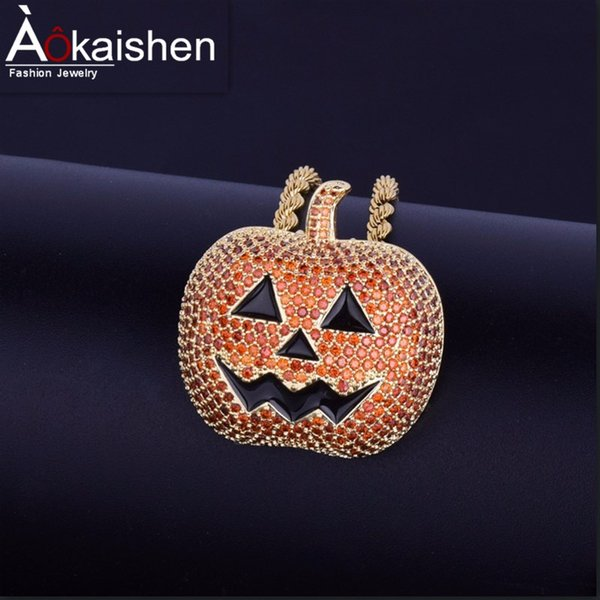 Halloween Pumpkin Necklace & Pendant Charm Men's Hip hop Jewelry Gold Silver Cubic Zircon With Rope chain Friend Gift