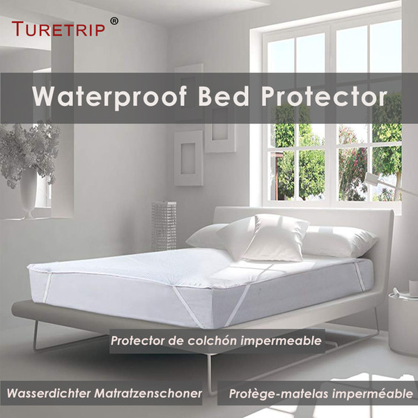 Turetrip Cotton Terry Waterproof Bed Sheet Fit For Mattress Pad Cover With Elastic Band Bed Protector Hospital Sheet Anti Mites