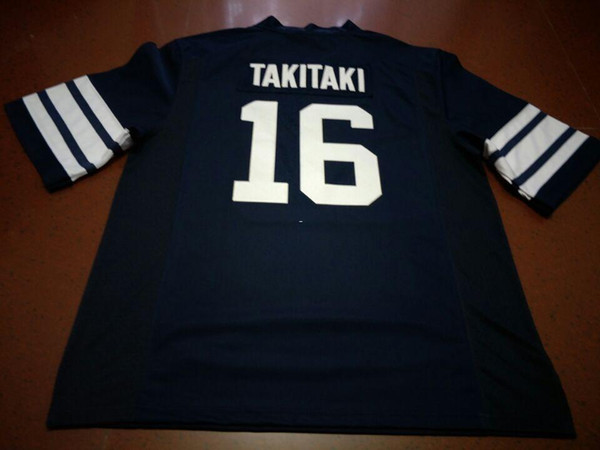 Men Brigham Young Cougars Sione Takitaki #16 real Full embroidery College Jersey Size S-4XL or custom any name or number jersey