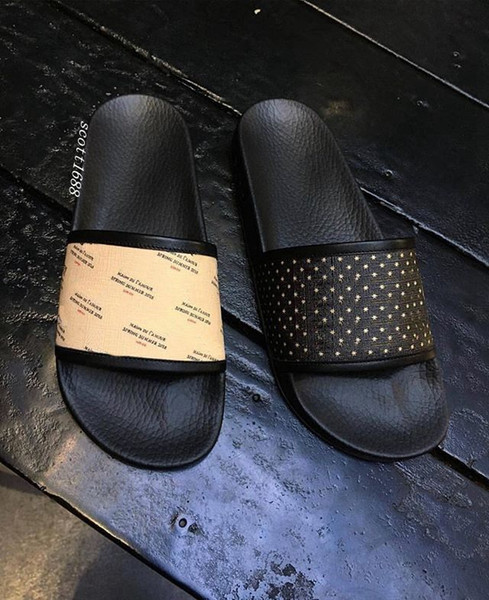 fashion Black Logo And Star-print rubber slide sandals flip flops mens and womens unisex causal beach flats slippers