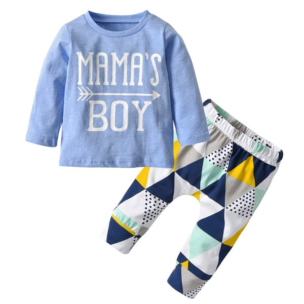 Newborn Baby T Shirt+Geometric Pattern Pants Boys Outfits Set Clothing Suit 2019