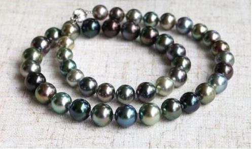 stunning 10-9 mm Tahitian round multicolor pearl necklace 18 INCH