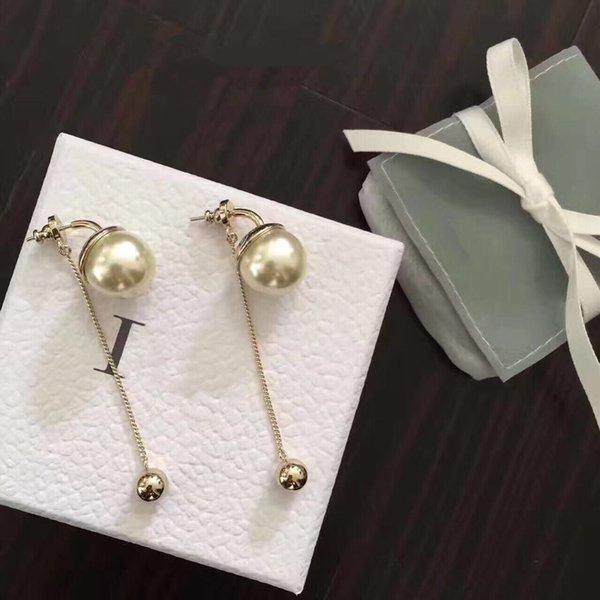 Pearl Metal Ball Earrings for lady Cd BRAND Logo Fashion Design Women Party Wedding Brooches D logo Luxury Imitation Jewelry With BOX