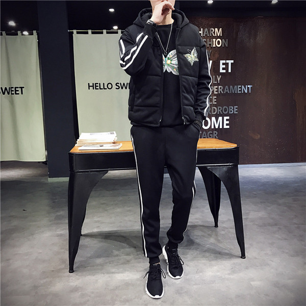 Men Tracksuit Sport Warm Suit Thick Fleece Hoodies Sport Coat Vest+sweater+pants Sportswear Male Running Jogging Casual Set 3pcs