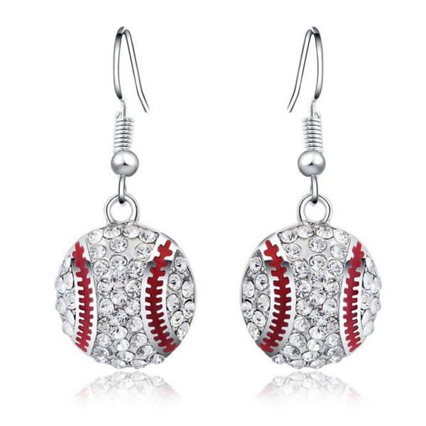 Gümüş Küpe Küpe Kadınlar için Sıcak Satış CZ Kristal Beyzbol Dangle Küpe Kız Parti Moda Takı Toptan Ücretsiz Kargo