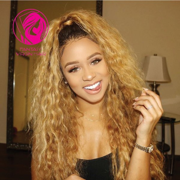 Fantasy 150% 180% Ombre Blonde Dark Roots Full Lace Human Hair Wigs Kinky Curly Pre Plucked Brazilian Virgin Hair Lace Wig