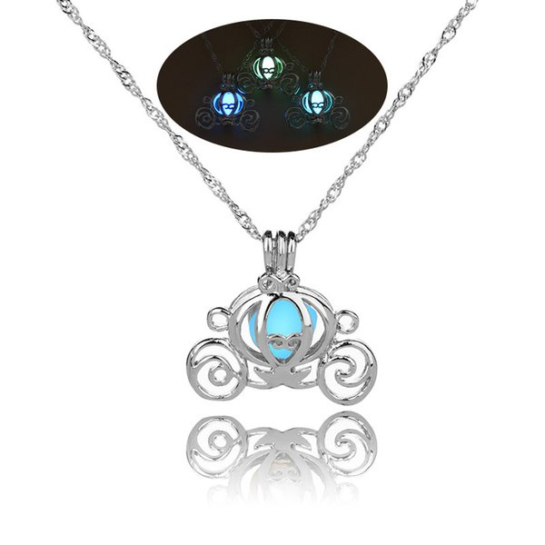 2018 Retro Hollow Pumpkin Car Glow in the Dark necklace Silver Chain Jewelry luminous Pendants For Mens Punk cute Necklace drop ship 162655