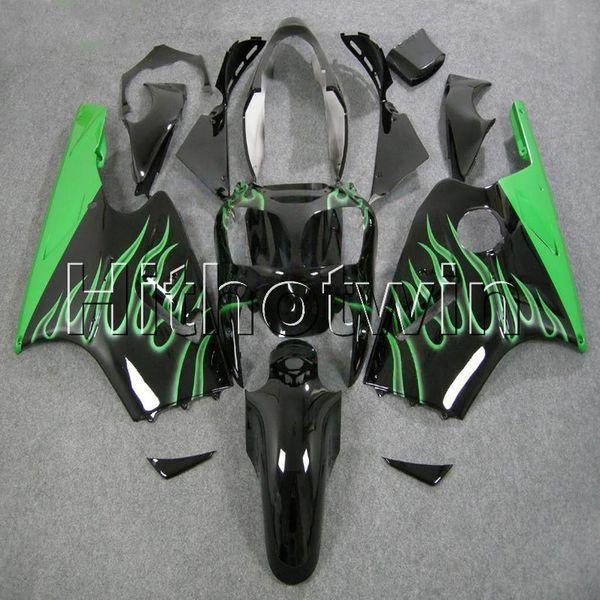 23 renkler + 8 Çiftler Enjeksiyon kalıp yeşil alevler kawasaki ZX12R 2000 için kalay motosiklet kukuletası 2001 ZX12R 00 01 ABS ...
