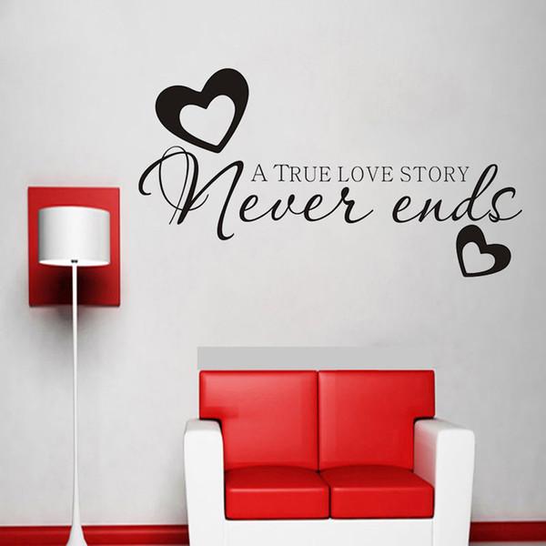 Abnehmbare englische Buchstaben eine wahre Liebesgeschichte nie Ende Wandaufkleber für Wohnzimmer Schlafzimmer Hauptdekoration