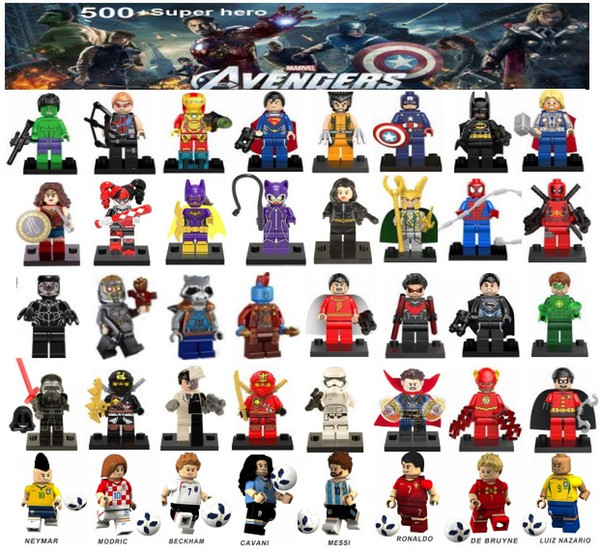minifigurines Super Heroes Avengers Ironman Deadpool Logan Superman Batman Coupe du monde Messi Neymar Ronaldo Les chiffres Mini Building Blocks