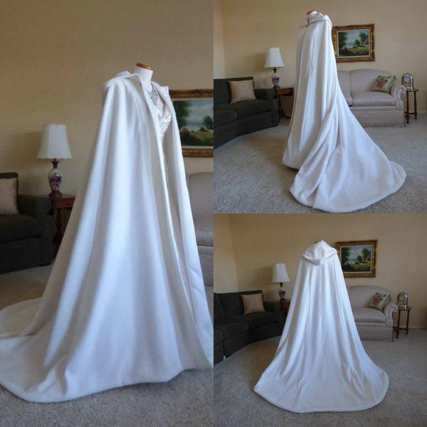 Imagen real capa con capucha de invierno mujeres del cabo de alta calidad del tren de barrido de la boda abrigos abrigos traje robe por encargo