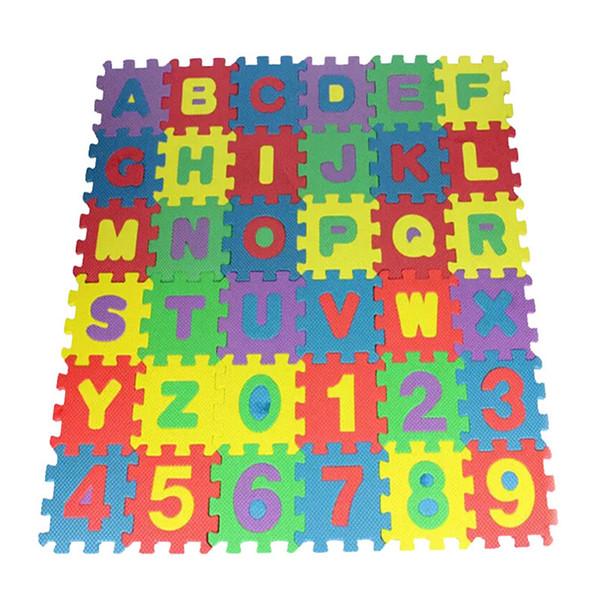 36pcs Mini Alfabeto Numeral Foam Mat Puzzle Crianças Educacional Toy
