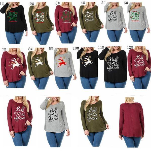 a411b27ef9b9 Women Autumn Christmas T Shirt Elk Deer Letter Print Shirts Pullover Long  Sleeve Sweatshirts Round Neck