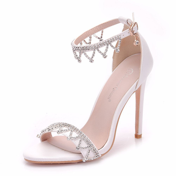 New summer crystal chain open toe shoes for women super high heels fashion stiletto heel wedding shoes sexy ankle strip Bridal sandals