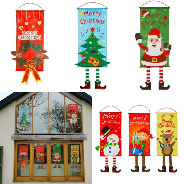 Cloth Flag Christmas Mall Display Window Home Wall Decor Party Hanging Ornaments Paintings Santa Claus Deer Tree Flags 9tq hh