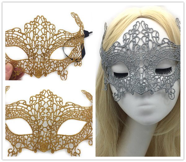 Gold Silver Sexy Lace Party Masks Women Ladies Girls Halloween Xmas Cosplay Costume Masquerade Dancing Valentine Half Face Mask HM16