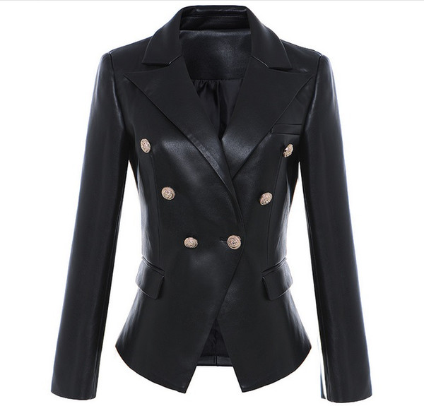 best selling New with label Brand B Top Quality Original Design Women's Slim Leather Jacket Metal Buckles Double-Breasted Black Motorcycle Jacket