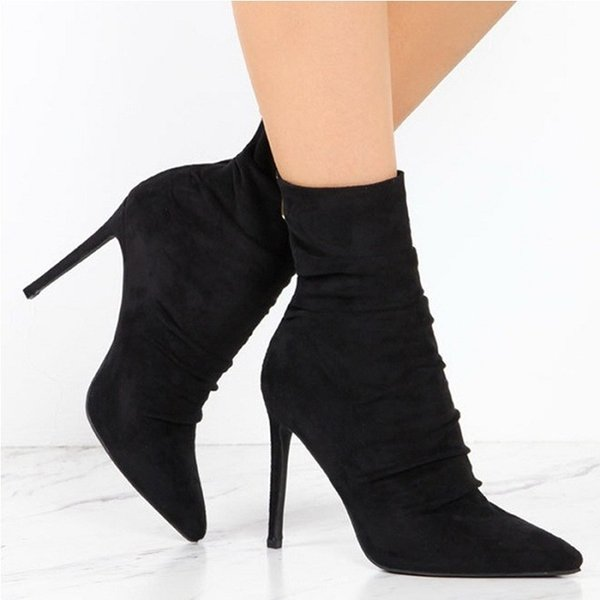 Pointed Toe High Heel Sock Boots Suede Leather Short Ankle Boots for Women Sexy High Heel Women Boots 43 Size