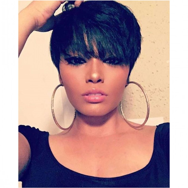 New style Lace front Human hair wigs with bangs Short Pixie Cut Wigs  African Haircut Style Brazilian hair Wigs for Black Women