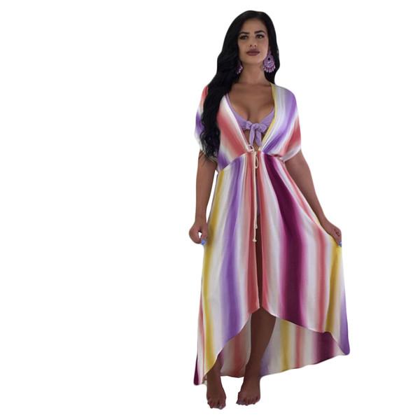 Heißesten Bogen Bandage Bikinis Set + Cover Up 3 Stücke Sets Bademode 2018 Sommer Frauen Bunte Tie Dye Kleid Badeanzug Strand Tragen