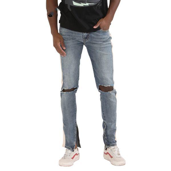 2018 fashion Fitness jeans Uomo Pantaloni casual Moda fondo aderente zip street wear hip hop blu jeans dritti uomo