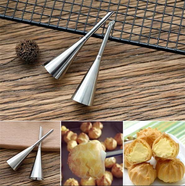 2PCS Piping Bag Nozzles Set Stainless Steel Cupcake Cake Decorating Tips For Puff Cream Pastry Piping Nozzles Decorating Tool Pa