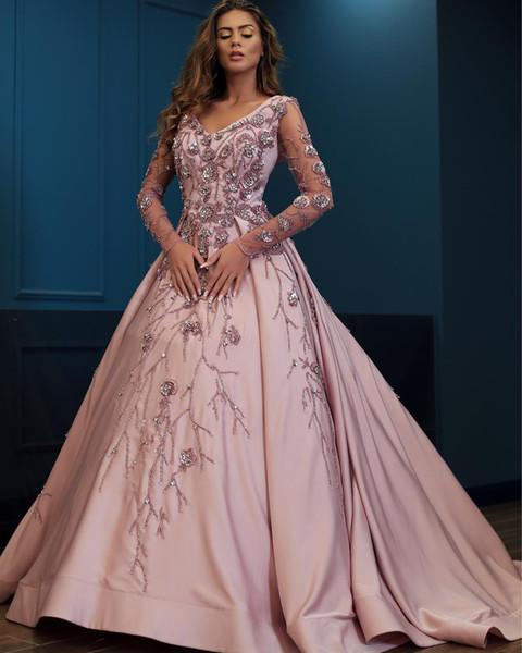 Compre Sparkly Lujoso 2018 Vestidos De Noche Atractivos Cuello En V Mangas Largas Vestido De Gala Vestidos De Fiesta De Satén Vestidos Elegantes Para