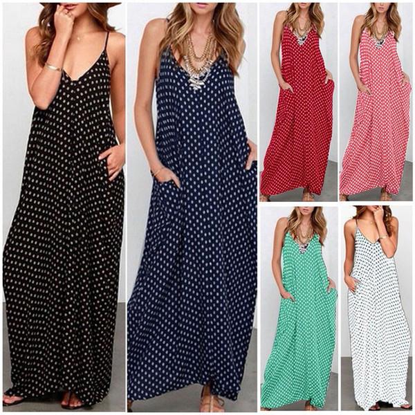 6 Colors Summer Boho Sleeveless spaghetti strap women Maxi Dress loose white black dot elegant sexy V-neck casual beach dresses S-XXXXL