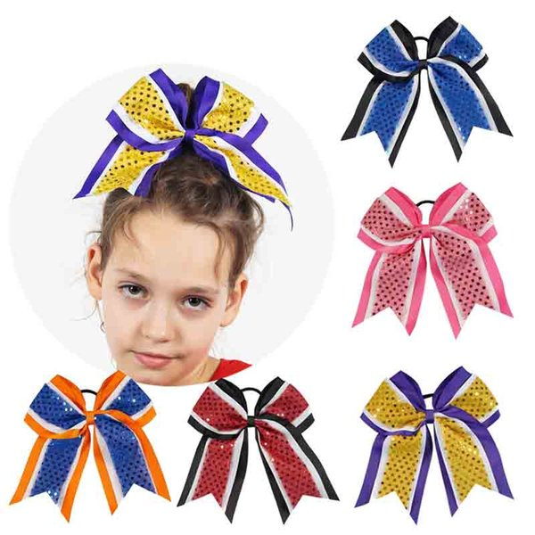 Handmade 7 Three Layer Ribbon Sequins Cheer Bows With Elastic Girls Cheerleading Boutique Hair Accessories 8pcs Lot Headwear