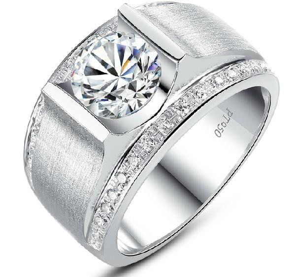 1Ct Distinguished Men Synthetic Diamonds Ring for Man Engagement Genuine Sterling Silver White White Gold Color Semi Mounting S923