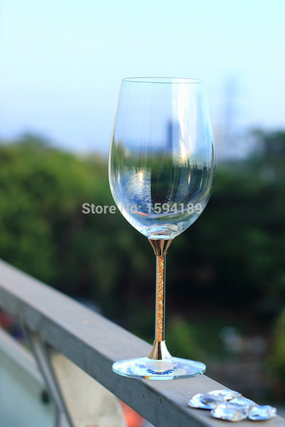 hot sale crystal 597ml drinking glass set with gold color stem wedding red wine glasses set with stem filled rhinestones