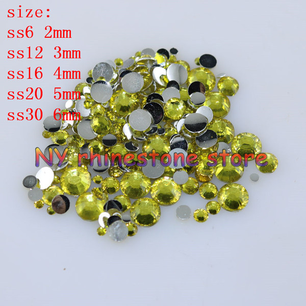 top popular 1000-10000pcs bag 2-6mm Lemon Yellow Resin Crystal Rhinestones FlatBack Super Glitter Nail Art Strass Wedding Decoration Applique Non HotFix 2021