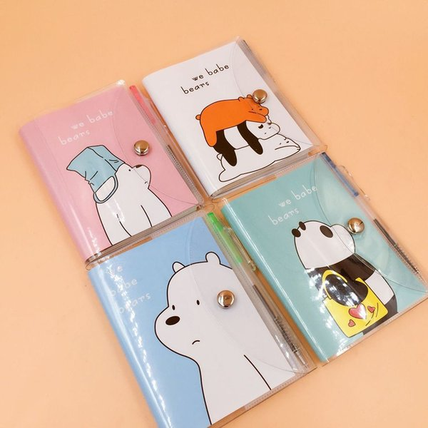 1 Set 8*11cm Cute Bear Cat Notebook with Ballpoint Pen Notepad Button Diary Book Exercise Book Escolar Papelaria School Supply