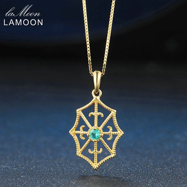 LAMOON Spider Web 3mm Round Cut Green Emerald Necklace 100% Real S925 Jewelry Box Chain+Pendant Necklace for Men Women LMNI035Y1882701