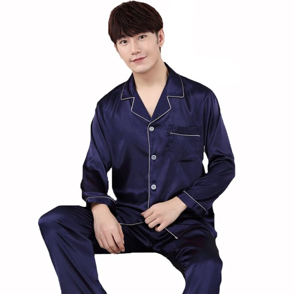 Silky Satin 2PCS Shirt&Pants Sleep Set Spring New Men Pajamas Pijamas Turn-Down Collar Sleepwear Suit Loose Nightwear L-XXXL