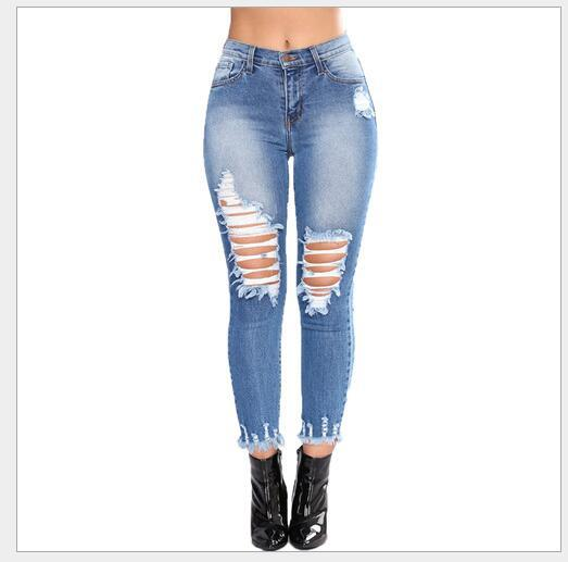 Dropshipping Girl Plus Size big Size Lady Fashion Pants Elegant Women Cool denim pants Girls Cotton Pants Comfort Womens Hole Trousers A008