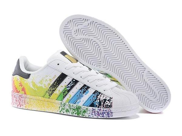 Acheter Adidas Superstar 2018 Originals Superstar Or Blanc Noir Rouge Superstars Années 80 Fierté Sneakers Super Star Femmes Hommes Sport Casual