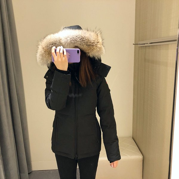 DHL Women Parkas WINTER CANADA Brand CHELSEA Down & Parkas WITH HOOD/Snowdome jacket Real wolf Collar White Duck/GOOSE Outerwear & Coats