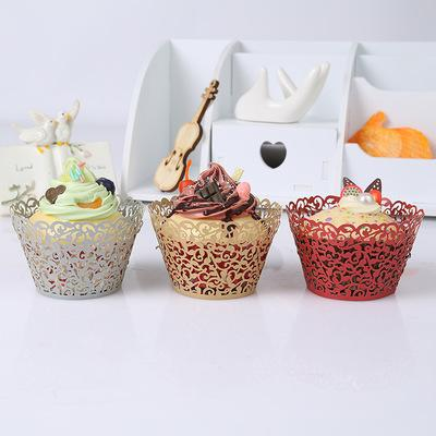 Exquisite Glittering Vine Filigrana Laser Cases Wedding Party Biscotti Decorazione di cottura al cioccolato Cupcake di carta 12 Pz
