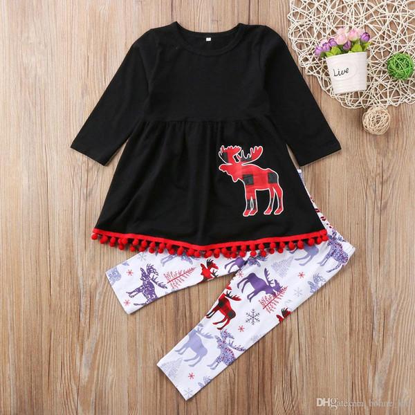 Christmas Kids Baby Girls Clothes Long Sleeve Reindeer BlackT-shirt Tops Dress +Pants 2PCS Set Kid Clothing Girls Clothes Set Outfits 1-7T
