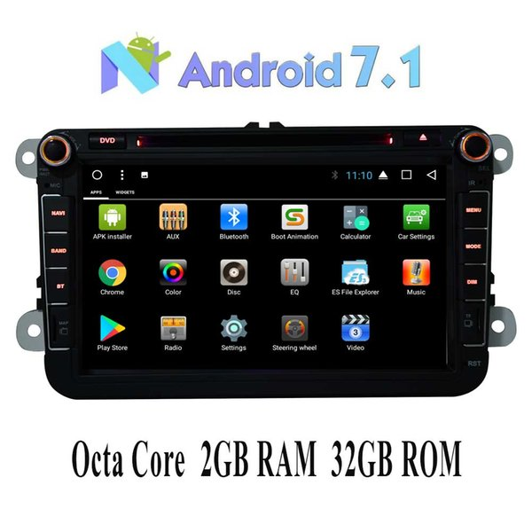 "8"" Car Radio Double Octa Core 2GB 32GB Head Unit Car Receiver Stereo In Dash GPS Navigation Bluetooth car DVD for Volkswagen VW"