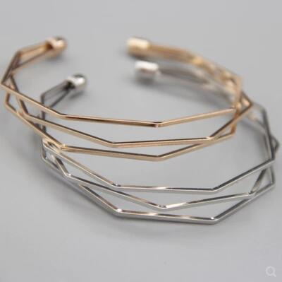 Fashion accessories 18K gold imitation rhodium gun black plated copper geometric wire high quality cuff bangles charm bracelets for women