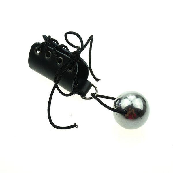 Männlicher lederner Penis-Ring mit Stahl-hängendem Ball für Übung Männlicher Penis-Pro längerer körperlicher Extender-Vergrößerer, der Gurt-Hahn-Wachstum ausdehnt