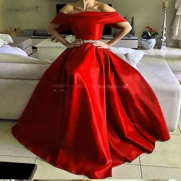 2019 A-Line Red Evening Dresses Long Off Shoulder for teens Sashes Satin Formal Prom Gowns