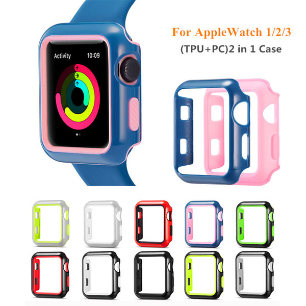 2 in 1 TPU + PC Double Layer Cover Case Smart Watch Screen Protective Shell for Apple Watch iWatch 1 2 3 38mm 42mm