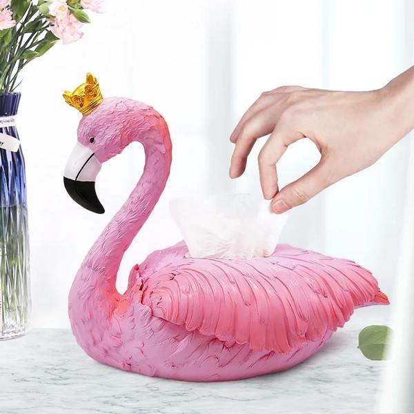 Resin Flamingo Sculpture Napkin Box Decorative Tissue Paper Case Everyday Convenience Houseware Gift Craft Ornament Accessories