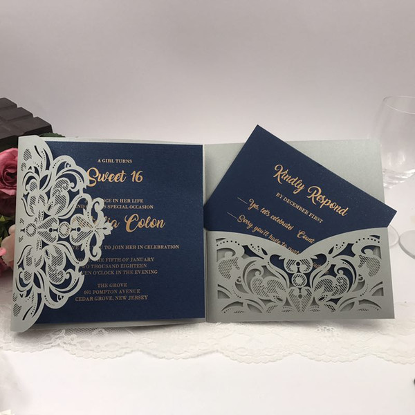 Navy Blue Flower Laser Cut Pocket Wedding Invitation Kits Customized Printing Business Invitation Cards In Wedding Invitations Ideas Wedding Reception