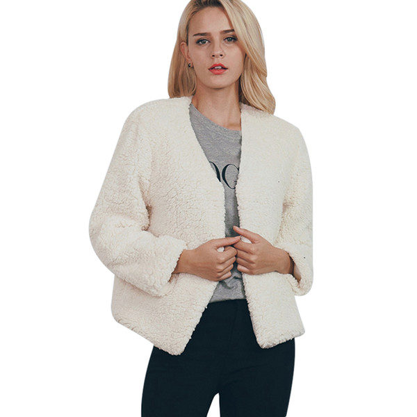 2017 Fashion Women Coat Faux Fur New V-neck Autumn And Winter New Soft And Comfortable High Quality Hot Sale s,m,l,xl,xxl,3xl