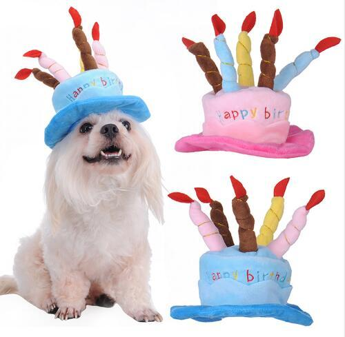 2018 Dog Cap Fashion 3D Birthday Cake Caps Pet Hat For Dogs Cats Wonderful Gift Dog Hat a Cake With Candles Shaped 1pcs 2 Colors