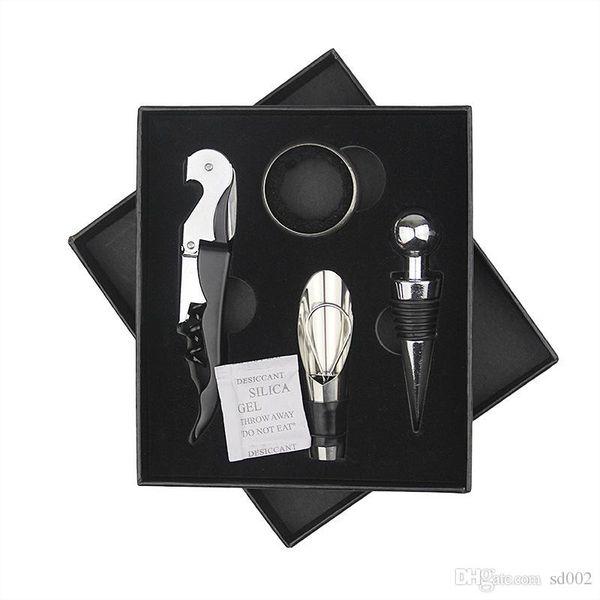 Practical Corkscrew 4 Pcs In One Set Kitchen Bar Tools Red Wine Bottle Opener Luxury Design Gift Box New Style 7jy ZZ